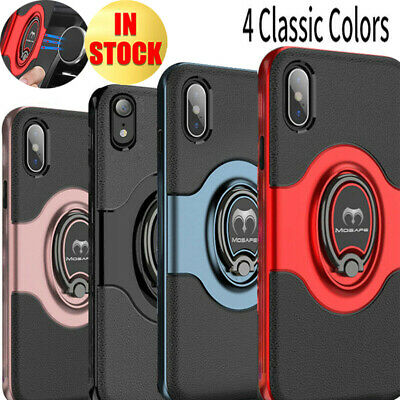 For iPhone XR XS Max Finger Ring Shockproof Protective Rugged TPU Case Cover