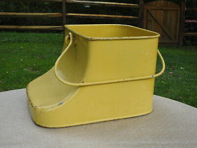 Antique Steel Handled Bucket Vintage Planter Industrial Pail Painted Yellow Rare