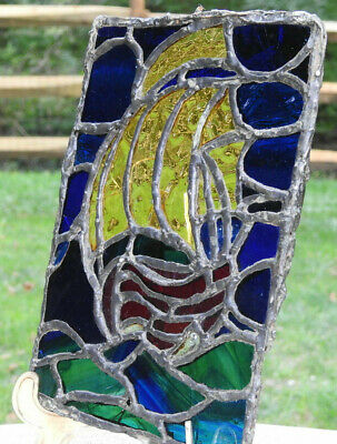 Vintage Stained Glass Pane Sailboat Sailing Lead & Copper Foiled Multi Colored