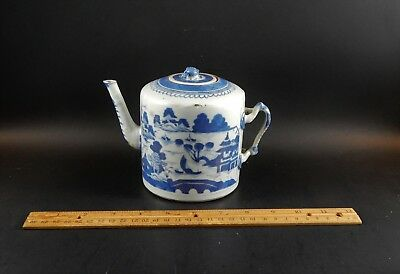 Antique Chinese Export Blue White Canton Porcelain Teapot Qing 19th Century
