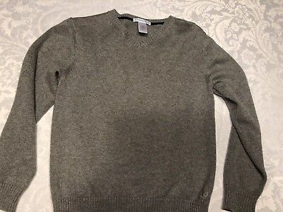 Janie And Jack Size 8 Boys V-Neck Gray Cashmere Blend Sweater