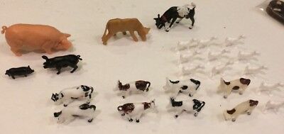 Vintage Miniature Plastic Toy Farm Animals Lot Of 24 Cows Pigs Goats Hong Kong