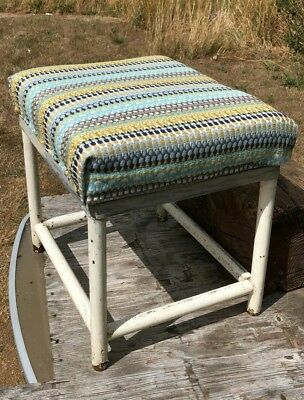 Vintage Small Metal Foot Stool With Padded Seat *