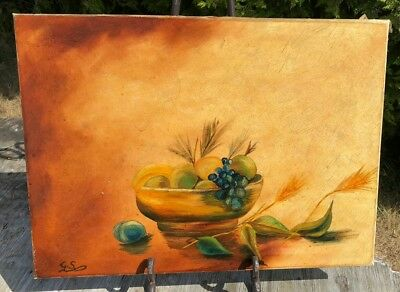 Beautiful Vintage Signed Hand Painted Fruit Bowl Picture *