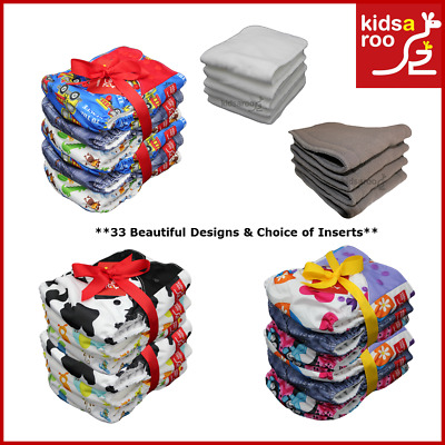 Reusable Modern Cloth Nappies MCN - Bulk 6 Packs - Charcoal Bamboo - Microfibre