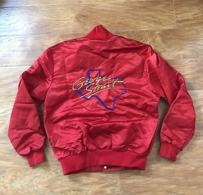 Vintage 1980's George Strait Red Satin Snap Up Country Jacket Size M Made in USA