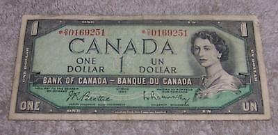 1954 Bank Of Canada One 1 Dollar Bank Note Oy 0169251