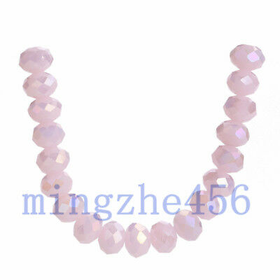 50pcs Jade Pink AB Faceted Crystal Rondelle Loose Beads DIY Jewelry Finding 6mm