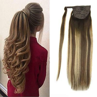 Long Wrap Around Ponytail Extension Balayage Ombre Brown to Ash Blonde Color 80g