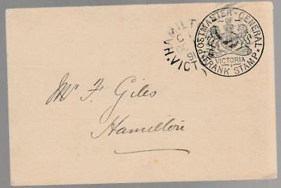 Victoria - 1891 PMG card from Hamilton - Juvenile Industrial Exhibition