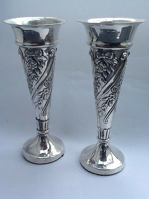 Stunning Pair Of Decorative Walker & Hall Silver Vases- Birmingham 1900