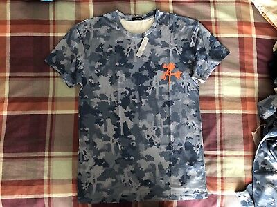 U2 The Joshua Tree Tour T-shirt Camo Blue/Orange Logo Medium *BNWT* Rare