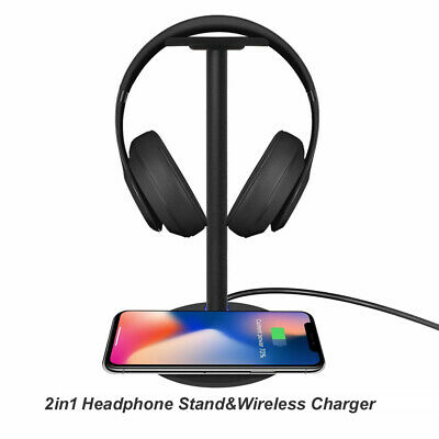 Wireless Charger + Headphone Earphone Headset Stand Holder For iPhone XS MAX XR
