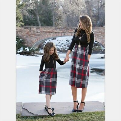 Family Matching Clothes Women Girls Mother and Daughter Striped Dresses Outfits