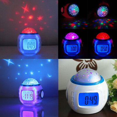 New LED Projector Music and Starry Sky Digital LCD Alarm Clock Snooze Kids