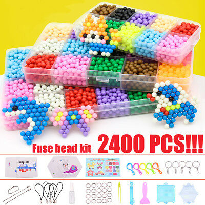 2400PCS  Aqua Water Fuse Sticky Beads Refill DIY Art Crafts Funny Toys Case