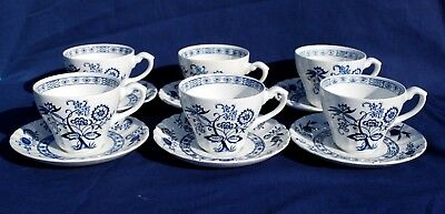 """Set of Six (6) J & G MEAKIN """"CLASSIC BLUE NORDIC"""" CUPS & SAUCERS"""
