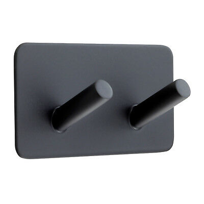 Matte Black Coat Hook with Double Hook and Stick on Backplate