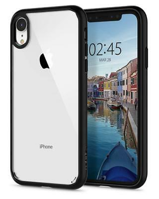 Custodia iPhone XR Trasparente Spigen Ultra Hybrid Cover Antiurto Bordo TPU Nero