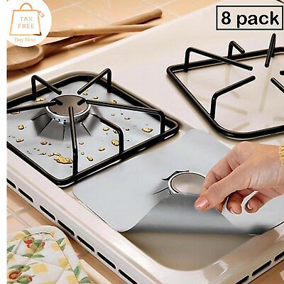 Reusable Gas Range Stove Top Burner Protector Liner Cover Cook Clean - Pack of 8