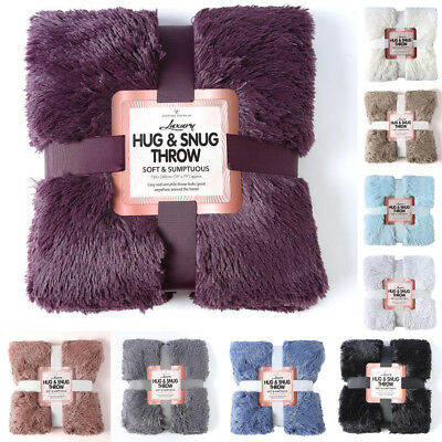 Luxury Throw 150x200 For Bed 2 Seater Sofa Fluffy Double Size Blanket Faux Fur