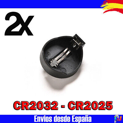 2x Portapilas Boton Socket CR2032 CR2025 3v Button Coin Cell Battery Socket