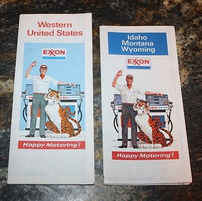 2 VINTAGE 1974 Exxon Gas Western US & ID MT WY Highway Road Maps, Uncirculated