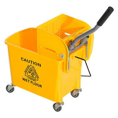 Commercial 5 Gallon Janitor Mop Bucket w/ Down Press Wringer Restaurant Cleaning