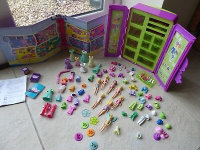 Very large Polly Pocket collection: dolls, clothes/accessories, wardrobe & game
