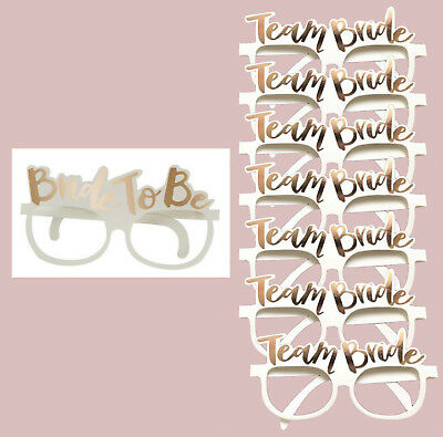 8 Hen Party Glasses Photo booth Prop rose Gold pink card Team Bride To Be Night