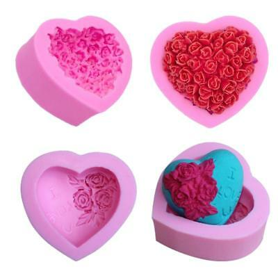 3D Silicone Mold Mould Rose Flower Heart Handmade Soap Candy Baking Tool