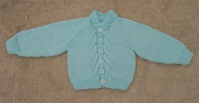 Hand knitted cable patterned  cardigan in aqua blue 0/3 mth baby boy