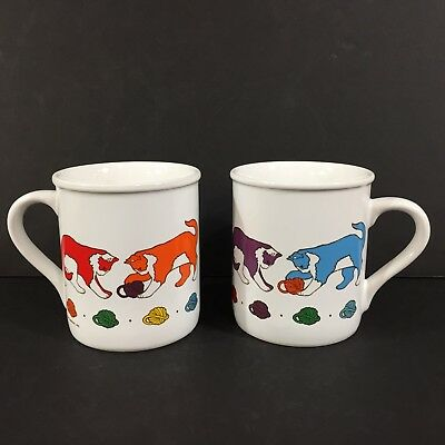 Vintage 1984 Set of 2 Current Coffee Mugs Cat Playing with Yarn Rainbow Colors