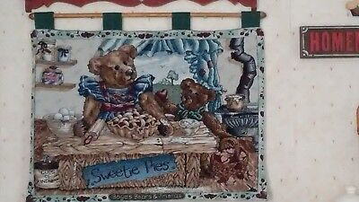 """Boyds Bears """"Sweetie Pies"""" Tapestry Wall Hanging with rod  L@@K!"""
