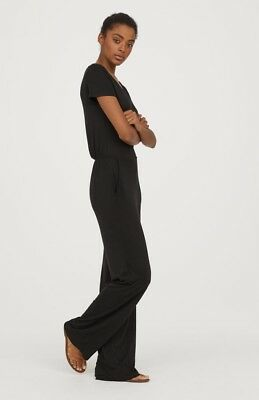 954f89c3969 Bn H m Stretch Black Jersey Waisted Jumpsuit With Pockets Size Small 8