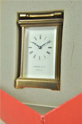 Garrard & Co Brass Carriage Mantle Clock with Key & Box