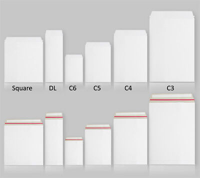All Sizes Quality White All Board Envelopes Peel & Seal Cardboard Strong Mailer