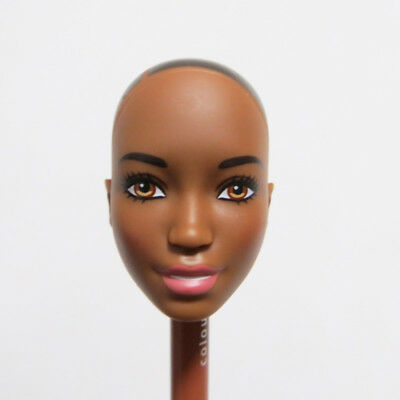 Head for Barbie Doll Dark Skin DIY Soft Head without Hair Smile Face Doll Part