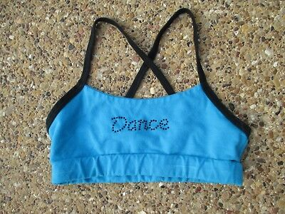 Tia's Blue Dance Bra Top Youth Large with Black Crossed Straps - Great Condition