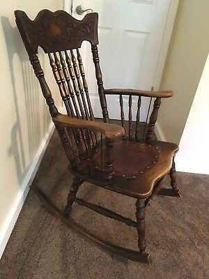 Antique Rocking Chair Embossed Leather Seat