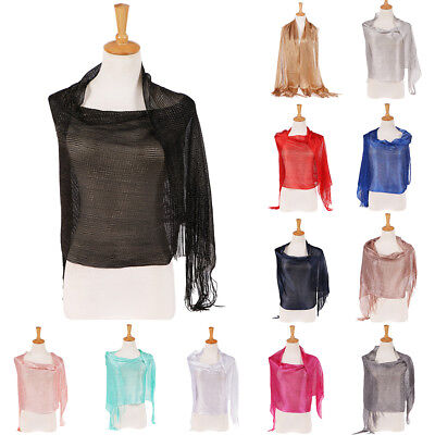 EP_ Women Glossy Solid Tassels Soft Banquet Evening Party Shawl Scarf Wrap Sanwo