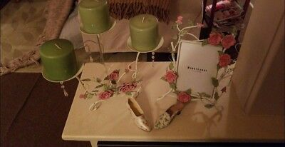 Rose decor  Set with candle holder and picture frame and two small dainty shoes