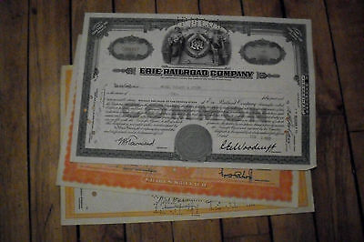 3 diff. old USA railroad stock certificates nice used