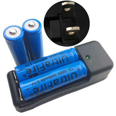 4pcs 18650 Li-ion Rechargeable Batteries 3800mAh 3.7V for Flashlight+ US Charger