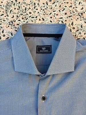 "GAUTIERI -Blue-Black-White Check - Button Cuff - Shirt - 17"" collar - New No Tag"