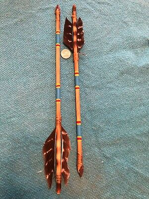 "Two Navajo Handmade Original Painted Arrows by M Goldtooth 17"" stone chipped tip"