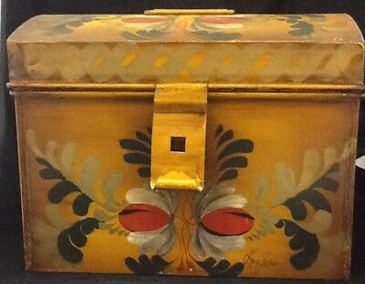Antique Tin Hand Painted Toleware Box