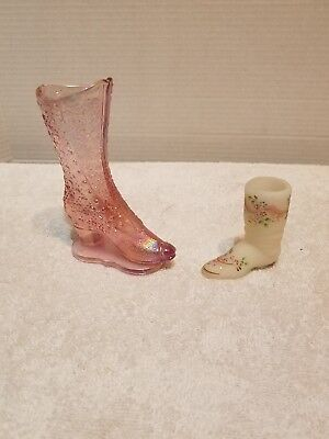 Pair of Beautiful Vintage Fenton Glass Boots
