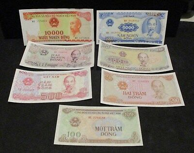Lot of (7)  Vietnam Banknotes - Nice Type Set!              ENN COINS