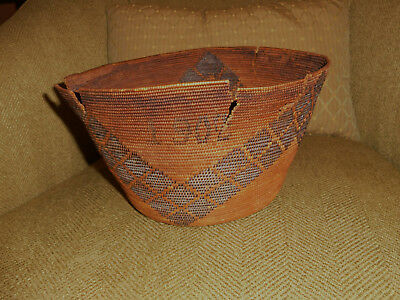 American Indian basket antique native art Dated 1902 distressed AS IS Historical
